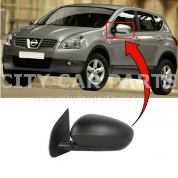 NISSAN QASHQAI 2007 TO 2013 PASSENGER SIDE WING DOOR MIRROR HEATED ELECTRIC BLACK
